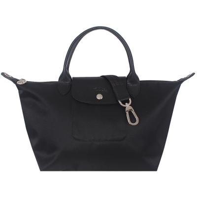Longchamp Le pliage Neo 厚質尼龍布短帶水餃包/斜背包(黑色/小)