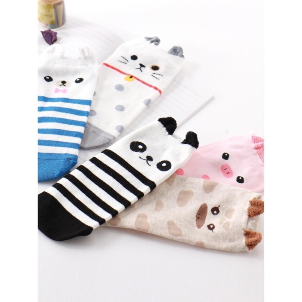 韓國點點/條紋點綴動物船型襪.5色(任3雙198)-OB大尺碼