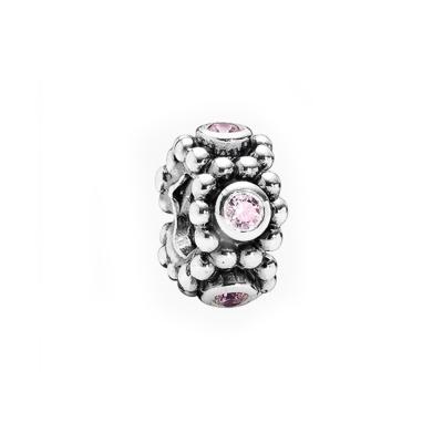 Pandora 潘朵拉 貴族花圈粉紅水鑽 純銀墜飾 串珠