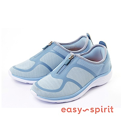 Easy Spirit--輕量拉鍊休閒走路鞋-迷人藍
