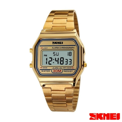 SKMEI時刻美 復古風潮方形經典電子錶-金