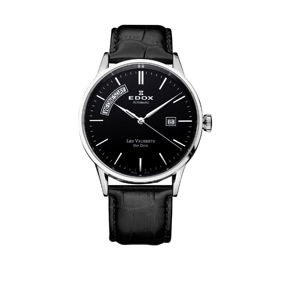 EDOX Les Vauberts 自動上鍊日曆機械錶-黑/40.5mm