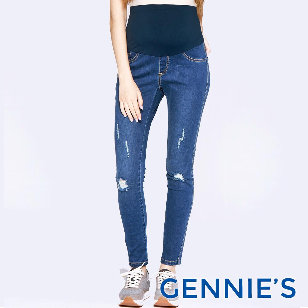 Gennies專櫃-個性破壞感孕婦牛仔褲-藍(T4C47)