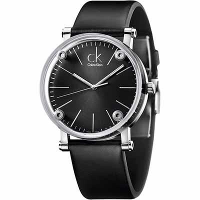 cK 經典鏤空玻璃時尚腕錶-黑/ 42 mm