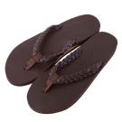 Rainbow Sandals美國全真皮夾腳編織休閒拖鞋-深咖啡色