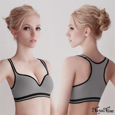 運動內衣 深V羽型胸墊無鋼圈工字背運動內衣(灰配黑邊) Naya Nina