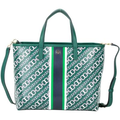 TORY BURCH GEMINI LINK 雙鏈圖騰防水帆布兩用托特包(小/綠色)
