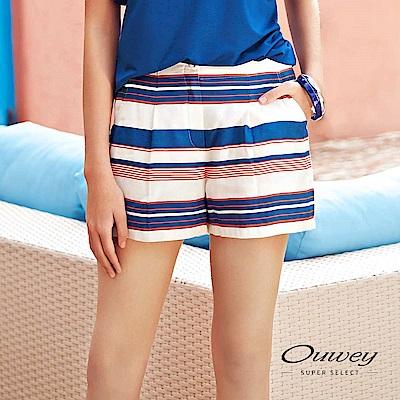 OUWEY歐薇 輕薄跳色大口袋條紋短褲(藍)