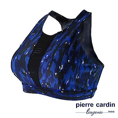 【pierre cardin 皮爾卡登女性內衣】個性印花拼接 無鋼圈運動內衣(深藍)