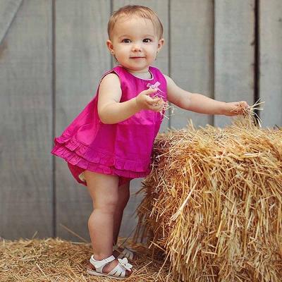 RuffleButts 小女童桃粉紅色甜美裙擺衣