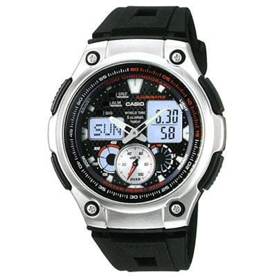 CASIO 超世代城市光廊雙顯指針膠帶錶(AQ-190W-1A)