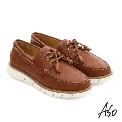 A.S.O 3D超動能 全牛皮手縫奈米都會休閒鞋 茶色