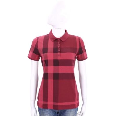BURBERRY 紅色格紋設計棉質短袖POLO衫