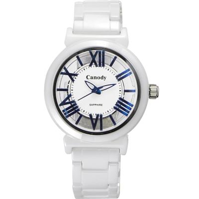 Canody 浮雕時尚 雙鏤空羅馬陶瓷腕錶-白x藍指針/35mm