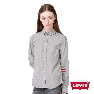女款修身長袖襯衫-素面條紋-灰色-Levis