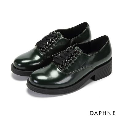 達芙妮DAPHNE 休閒鞋-英倫復古粗跟亮面環釦繫帶休閒鞋-墨綠