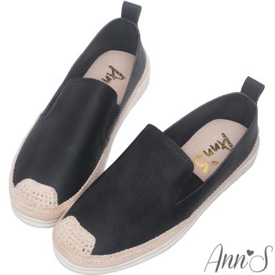 Ann'S下班日常-超舒適真皮草編懶人鞋-黑