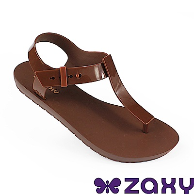 Zaxy 巴西 女 繽紛原色T字涼鞋-咖啡色