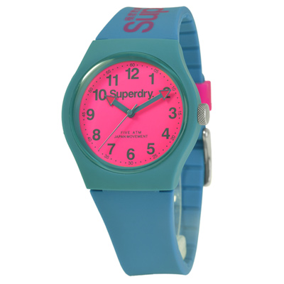 Superdry 極度乾燥 多彩 矽膠 運動腕錶-藍綠帶/桃紅面/37mm