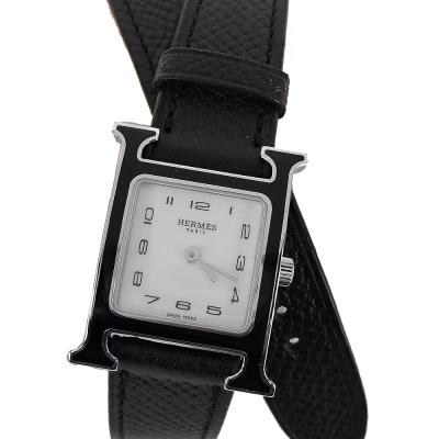 HERMES Heure H小牛皮黑銀框石英女仕環繞腕錶(黑/21mm)