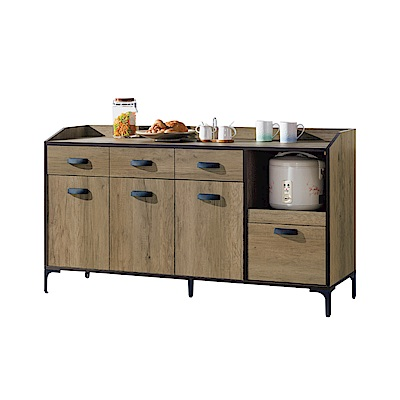 品家居 瑪德琳5尺橡木紋餐櫃下座-150x45x82cm免組
