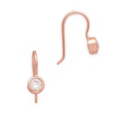 SHASHI 紐約品牌 Solitaire 圓形單鑽耳環 小垂墜式925純銀鑲18K玫瑰金
