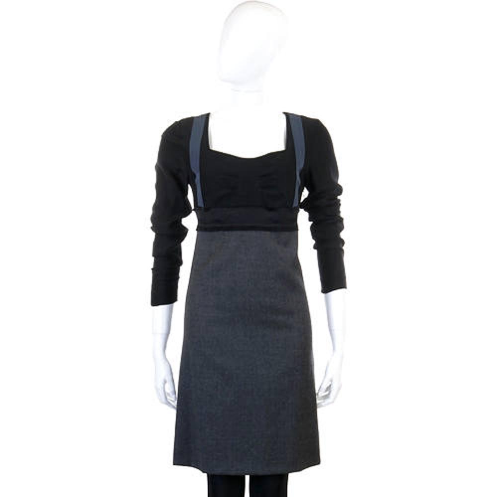 PHILOSOPHY 黑x灰色拼接蝴蝶結長袖洋裝