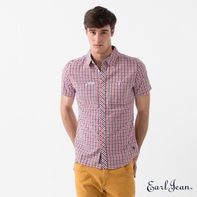 Earl Jean 工作格紋短袖襯衫-紅-男