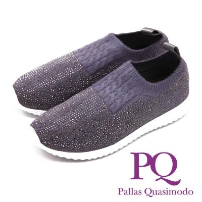 PQ 輕量系列 閃亮圓鑽針織彈力休閒 女鞋-灰(另有黑)