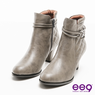ee9 MIT經典手工~氣質仕女素面經典菱格紋晶鑽墜鍊短靴-灰色