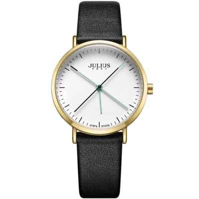 JULIUS聚利時 凝駐時光長指針設計皮錶帶腕錶-黑色/34mm