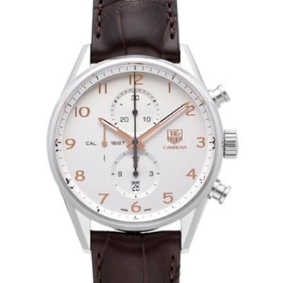 TAG HEUER 豪雅Carrera 系列數字計時腕錶-銀白/43mm