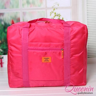 DF Queenin - 韓版折疊式大容量手提肩背旅行袋-玫紅