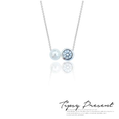 微醺禮物 項鍊 925純銀 5mm 珍珠 圓鋯 頸鍊 短鏈