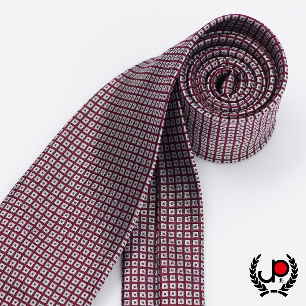極品西服 義式Teflon防潑水100%絲格紋領帶_ 棗紅灰細格(YT5033)