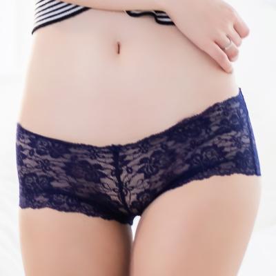 FLORA-LOVELY-蕾絲無痕日本平口褲-藍