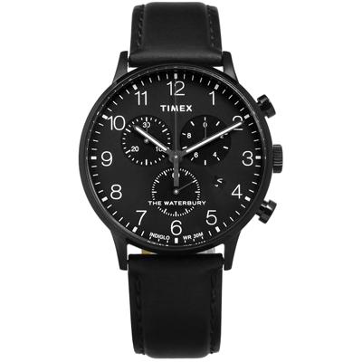 TIMEX 天美時 美國品牌 INDIGLO專利冷光真皮手錶-黑色/40mm