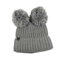 KARL LAGERFELD 時尚熱銷熊熊毛線帽(灰色)