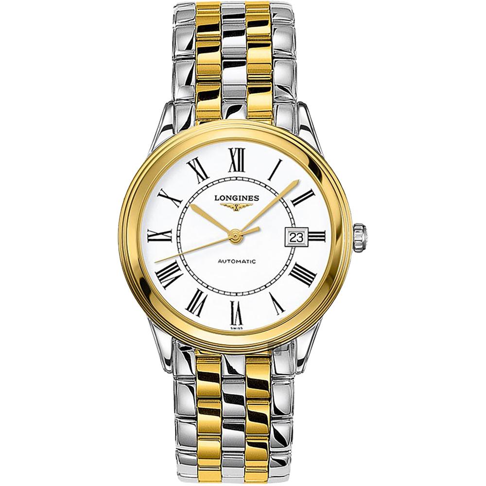 LONGINES 浪琴 旗艦系列羅馬機械錶-白x雙色/38.5mm