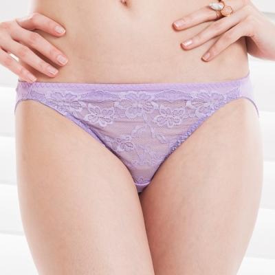 思薇爾 熱戀夏威夷系列M-XL蕾絲低腰三角褲(光采紫)