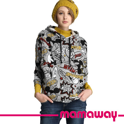 Mamaway-潮版塗鴉米奇孕哺帽T-淺麻灰