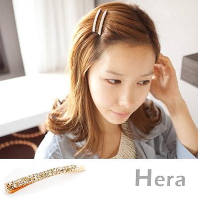 【Hera】赫拉 韓國飾品雙排滿鑽一字邊夾/髮夾(魅影金)