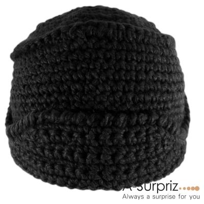 A-Surpriz 羅馬銅釦毛線帽(黑色系)