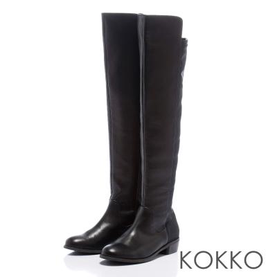 KOKKO率性時尚-心機顯瘦異材質伸縮過膝長靴-高貴黑