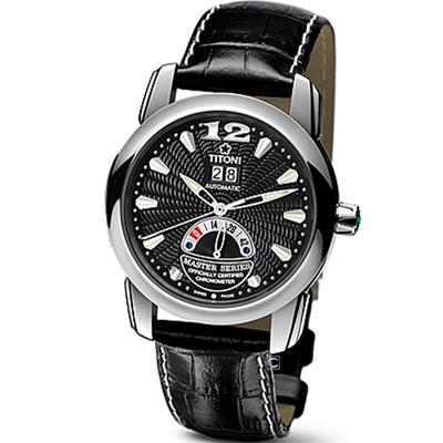 TITONI Master Series 天文台認證機械腕錶-39.2mm/黑色x銀色