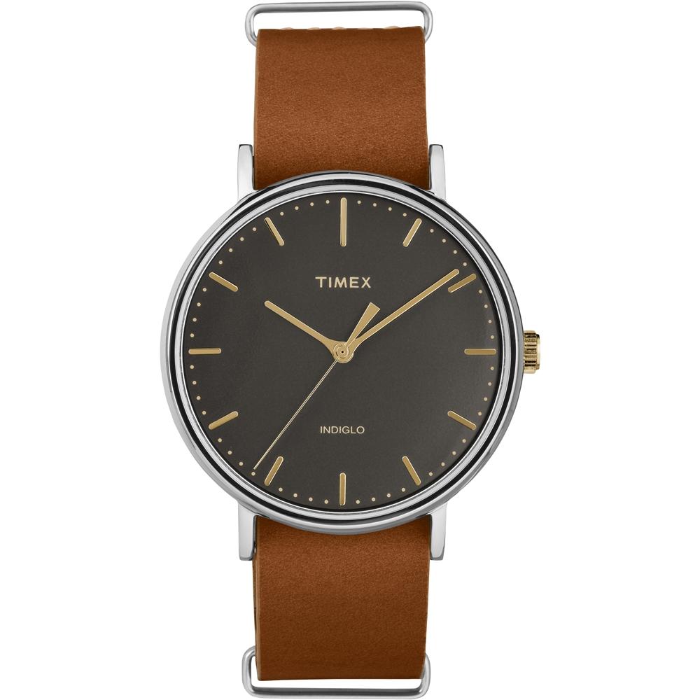 TIMEX 天美時 週末Fairfield系列時尚手錶-黑x金x咖啡/41mm