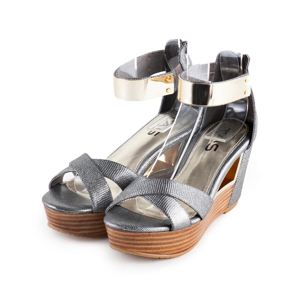 TAS 金屬踝繫帶蜥蜴紋鏤空厚底楔型涼鞋-迷人灰