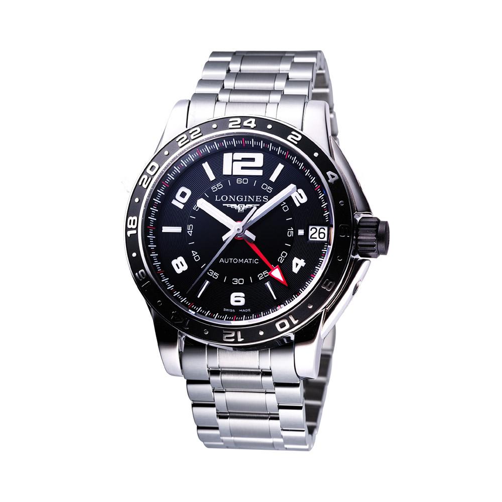 LONGINES Admiral GMT 超越優雅典範機械錶-黑/42mm