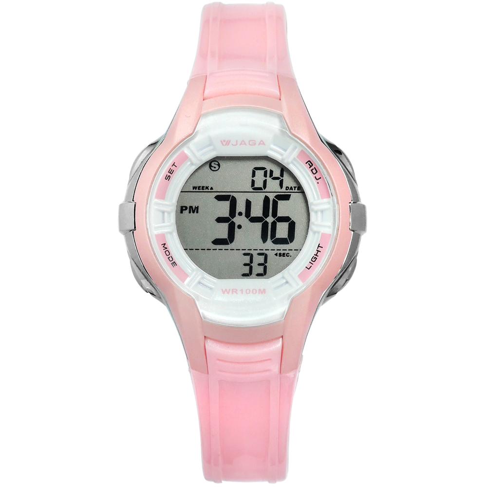JAGA捷卡電子運動冷光照明計時鬧鈴防水100M橡膠手錶-白粉色37mm