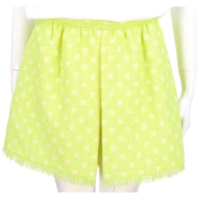MOSCHINO 螢光黃毛呢圓點印花褲裙